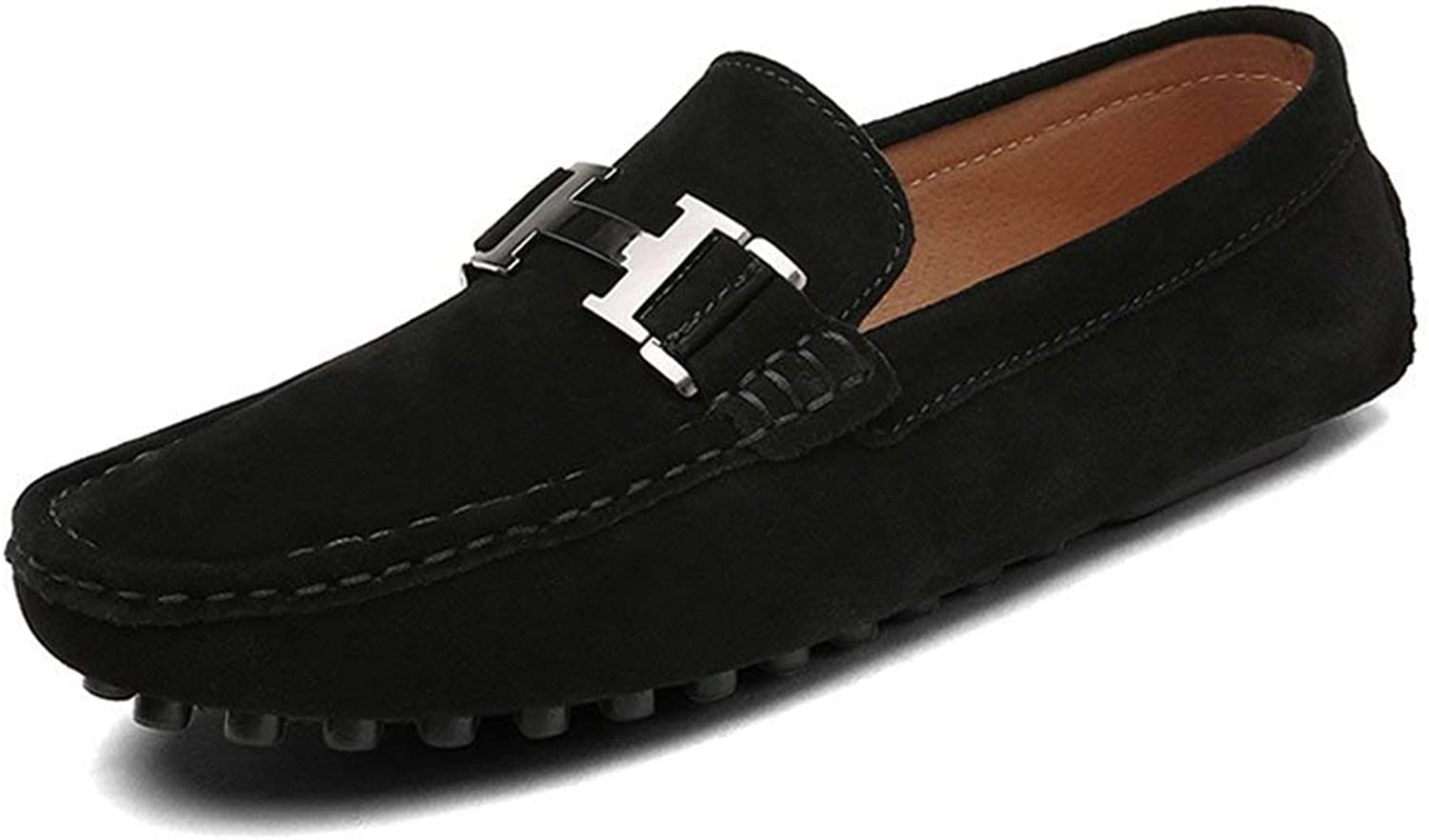 ZHRUI Men Casual shoes Cow Suede Leather Loafers Leather Driving Moccasins Slip on shoes Men Comfortable and Breathable shoes (color   Black5211, Size   5.5=39 EU)