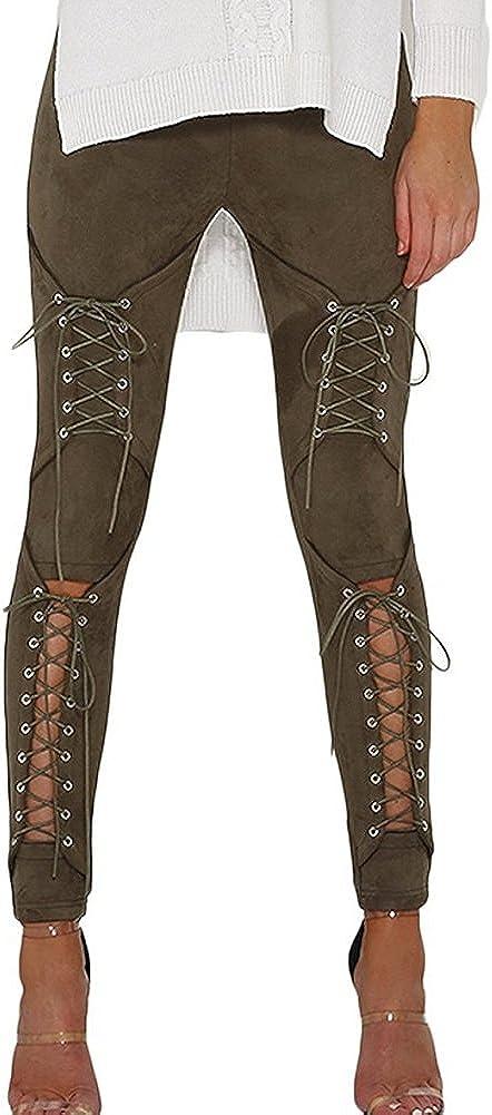 Sorrica Women's Sexy Crisscross Lace Up Bodycon Faux Suede Leggings Pants