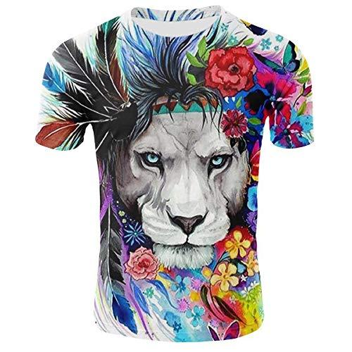 XIELH Mannen Tops Korte Mouwen Mens Cool 3D Print T Shirts Korte Mouw Crewneck Grafische Tee Shirts Tops 3D kleurrijke tijger print T-shirt