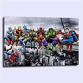 lihuaiart Canvas Wall Art Home Wall Decorations for Bedroom Living Room Oil Paintings Canvas Prints Superheroes Lunch Atop A Skyscraper 24x36inch