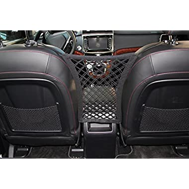INNX Dog Barrier with Storage Net for Back Seat, Stretchable Front Seat Pet Barrier for Sedan,Suv, Mini-Van,pick up truck (11 X12.6 ,Sedan/Compact SUV)