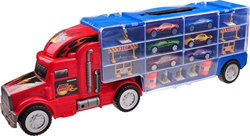 Bisarca Autotreno Rimorchio Trasportatore Auto per Bambini e Bambine TG664 – Giocattolo Autotreno con 12 Macchine e Molti Accessori Creato da ThinkGizmos (Marchio protetto)