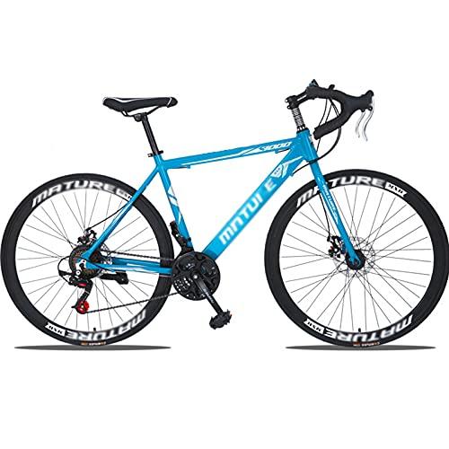 PBTRM Bikes Bicicleta Carretera 21 Velocidades Bicicleta Deportiva 700C Marco Aleación Aluminio Freno Disco Mecánico Velocidad Variable,Azul