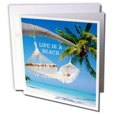 3drose afbeelding over het leven is een strand met Ocean Palm en hangmat, kaarten, 15,2 x 15,2 cm set van 6 (GC 243597 1)