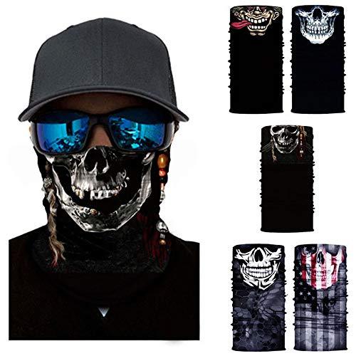 Milya 5er Pack Multi Sturmmaske Sturmhauben Skull Totenkopf Ghost Skelettmasken Gesichtsmaske Schlauchtuch Halstuch für Motorrad Fahrrad (5 Stück)