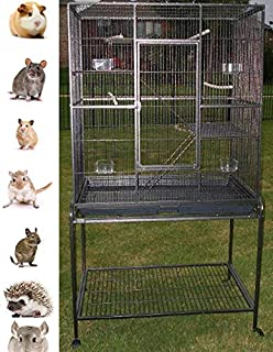 New Large Wrought Iron 4 Levels Ferret Chinchilla Sugar Glider Mice Rat Cage 32-Inch by 19-Inch by 64-Inch with Removable Stand