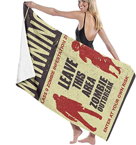 Thusjh Beach Towel Warning Zombie Outbreak Soft And Funny For Swimming Bath Towel Microfiber Men And Women Lightweight And Quick-Drying Towel For Travel,Camping,Gym,Beach,Yoga