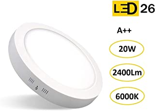 LED26 DOWNLIGHT PANEL SUPERFICIE LED CIRCULAR 20W plafon Redondo Para Techo y Pared LUZ BLANCA FRÍA [Clase de eficiencia energética A++]
