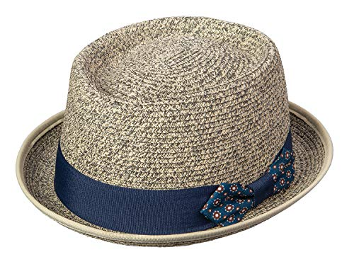 Broner Sophisticate Marled Paper Braid Porkpie Hat with Decorative Bow Band, Oatmeal, S M