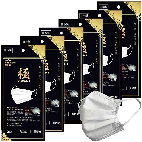トミサワ 日本製 極 不織布マスク 4層構造 コットンフィルター採用 Mサイズ 個包装 5枚入×6セット