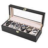 Estuche de Madera para Relojes, Caja de Relojes con 6 Compartimientos, Tapa de Vidrio, Almohadillas Extraíbles, Cierre de Metal, Caja para Almacenamiento Relojes Soporte