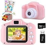 Temont Kamera Kinder für Jungen Mädchen,Digitalkamera Kinder 2 Zoll HD-Bildschirm 1080P 32 GB TF-Karte,Fotoapparat Kinder Jungen Mädchen Geschenke Spielzeug für 4 bis 12 Jahre alte Weihnachts (Rosa)