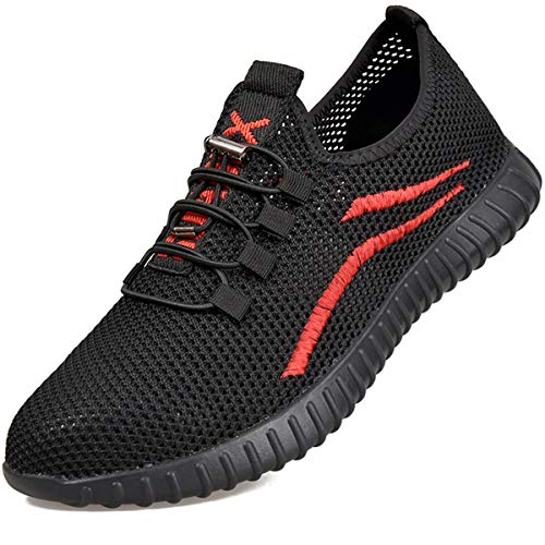 SUADEEX Herren Damen Arbeitsschuhe Stahlkappe Sicherheitsschuhe Atmungsaktiv Leicht Sportlich Trekking Wanderhalbschuhe Mesh Schutzschuhe Hiking Schuhe, Rot, 42 EU