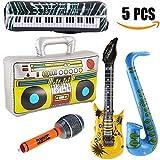 Yojoloin 5 STÜCKE Inflatables Gitarre Saxophon Mikrofon Boom Box Musikinstrumente Zubehör Für Party Supplies Party Favors Ballons...
