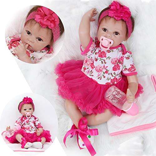 ZIYIUI Bambola Reborn Femmina 22 Pollici 55 cm Simulazione del Neonatale Vinile Bambole in Silicone Bello Ragazza Regalo di Natale Giocattolo Magnetico Bambole Reborn Femmine