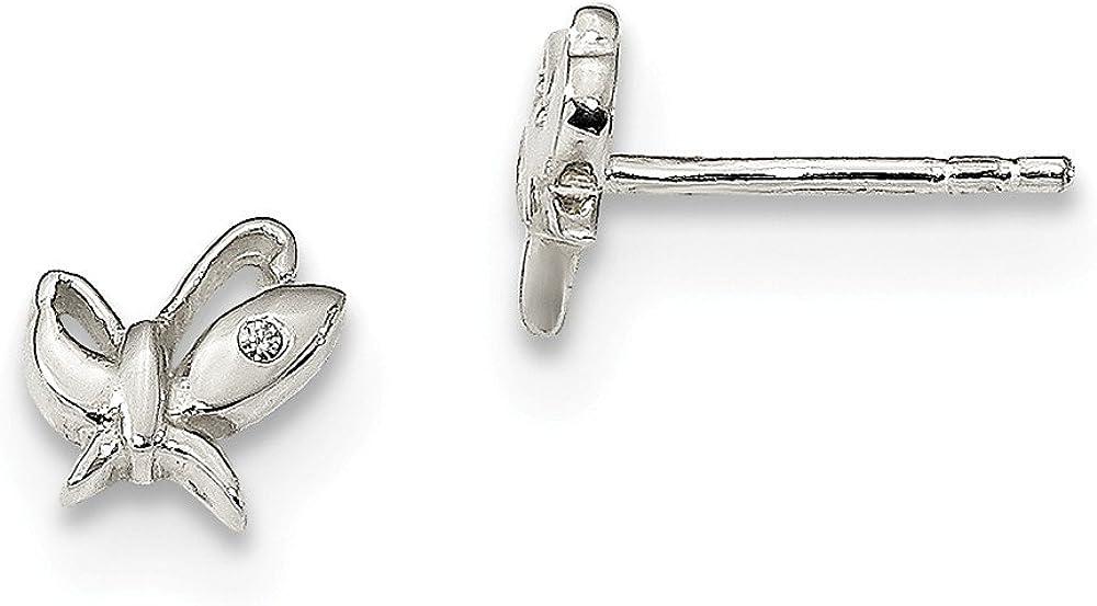 925 Sterling Silver NEW CZ Cubic Studs Bargain sale Earri Post Zirconia Butterfly