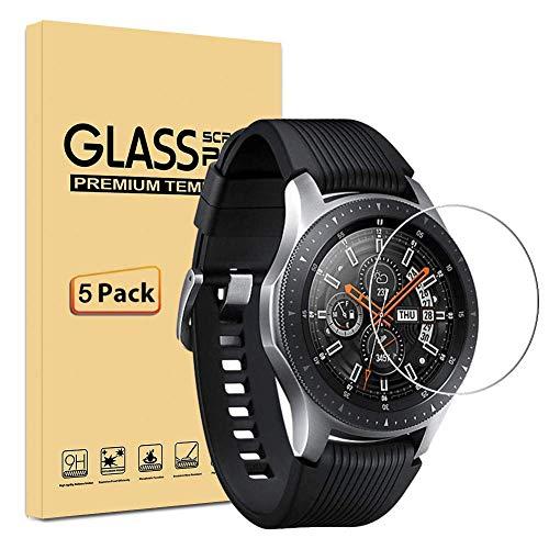 [Lot de 5] Samsung Galaxy Watch 46mm Protection écran, Film Protection en Verre trempé écran Protecteur - ANTI RAYURES - Ultra Résistant Dureté 9H Glass Screen Protector pour Samsung Galaxy Watch 46mm