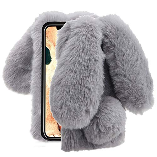 Aearl iPhone XR Case,iPhone XR Rabbit Fur Ball Case,Luxury Cute 3D Homemade Diamond Winter Warm Soft Furry Fluffy Fuzzy Bunny Ear Plush Back Phone Cover for Girls Women-Gray(iPhone XR 6.1 inch 2018)