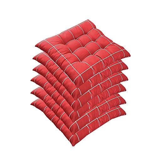 AGDLLYD 6er Set Stuhlkissen 40x40 cm, Gepolstertes Sitzkissen mit Bändern Stuhlkissen Kariert für Indoor und Outdoor (Rot)