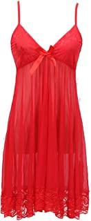 IngerT Women's Transparent Strappy Babydolls Sexy Deep V Neck Night Dress with Thong (Red, One Size)