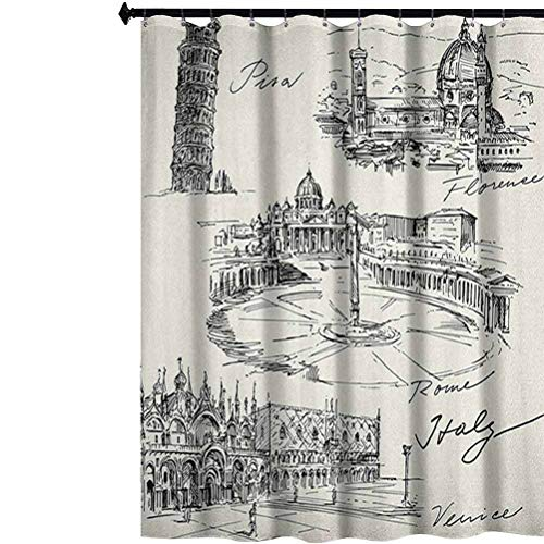 Aishare Store Sketchy Shower Curtain, Travel The World Themed Historical Italian Landmarks Venice Rome Florence Pisa, Cloth Fabric Bathroom Decor Set with Hooks, 72