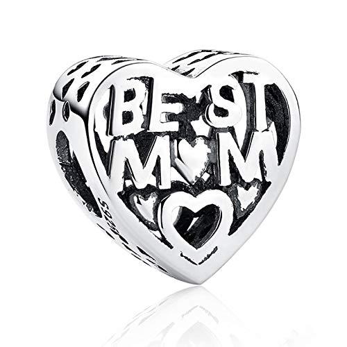LISHOU DIY 925 Plata Esterlina Mejor Mamá Corazón con Cuentas Regalo del Día De La Madre Abalorios Joyería De Moda para Mujer Adecuado para Brazalete De Pulsera Pandora