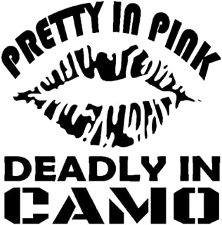 Wwwx 2 Pcs Pretty In Deadly In Camo Vinyl Decal Hunting Fishing Camping Car Styling Motorcycle Car Sticker Black 15Cm*15.2Cm