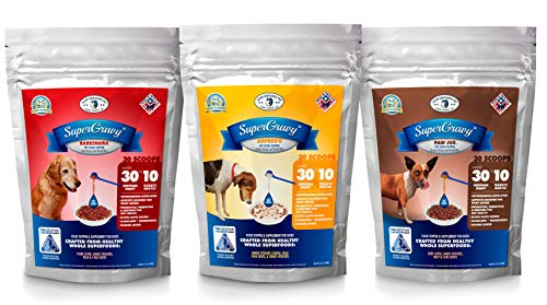 SuperGravy Original Trio- 30-Scoop bags- Natural Dog Food Gravy Topper - Hydration Broth Food Mix - Human Grade – Kibble Seasoning for Picky Eaters – Gluten Free Grain Free Total 90 Scoops