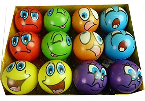 12 Stück bunte Grimassenbälle, ca. 6 cm Durchmesser, Flummi, Anti Stressball, Wurfball, Knetball, Knautschball aus Schaumstoff