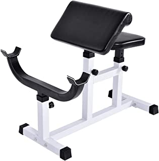 GYMAX Preacher Curl Weight Bench, Heavy Duty Adjustable Arm Curl Bench for Upper Limb Muscle Strength Training, Daily Exercise & Workout, Isolated Barbell Dumbbell Biceps Station