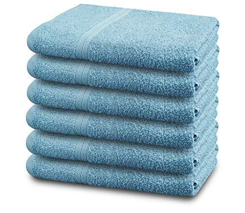 SIMPLY LOFTY 100% Cotton Bath Towels Set Pk 6-Ultra Soft Large Bath Towel-100% Cotton White Towel Set-Highly Absorbent Daily Usage Bath Towel-Ideal for Pool Home Gym Spa Hotel-Bath Towel Set 24 x 46