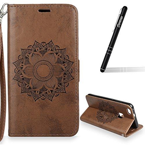 Slynmax Blumen Mandala Hülle Leder Braun Tasche Flip Hülle Schutzhülle für Huawei P10 Lite Bookstyle Ständer Kartenfächer Magnet Magnetverschluss Handyhülle