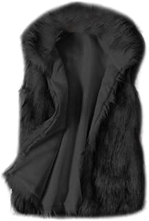 Funnygals - Women's Fashion Coat Gilet Vests Jacket Warm Fluffy Faux Fur Coats Sleeveless Jackets Open Front Cardigans