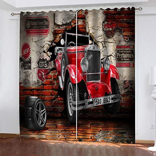 JNWVU Cortinas Opacas De Ojales 3D Coche De Viento Industrial Salon En Poliéster para Habitacion Dormitorio Cocina Decoración del Hogar Moderno Térmicas Aislantes Frío Y Calor. 200X180Cm