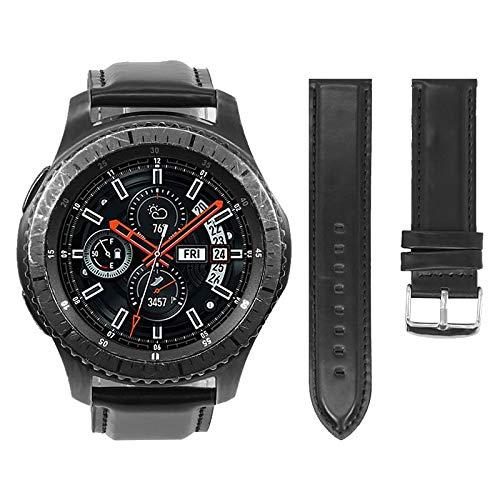 Pulseira Couro para Samsung Gear S3 Frontier - Gear S3 Classic - Galaxy Watch 46mm - Marca Ltimports (Preto)