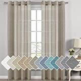 H.VERSAILTEX Linen Sheer Curtains - 2 Panels - Nickel Grommet Linen Curtains for Dining Room/Sliding Glass Door Extra Long Linen Curtains Sheer (52 inch by 108 inch Length,Taupe)