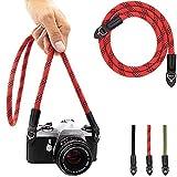 Eorefo Camera Strap Vintage 100cm Nylon Climbing Rope Camera Neck Shoulder Strap for Micro Single and DSLR Camera.(Red/Black)
