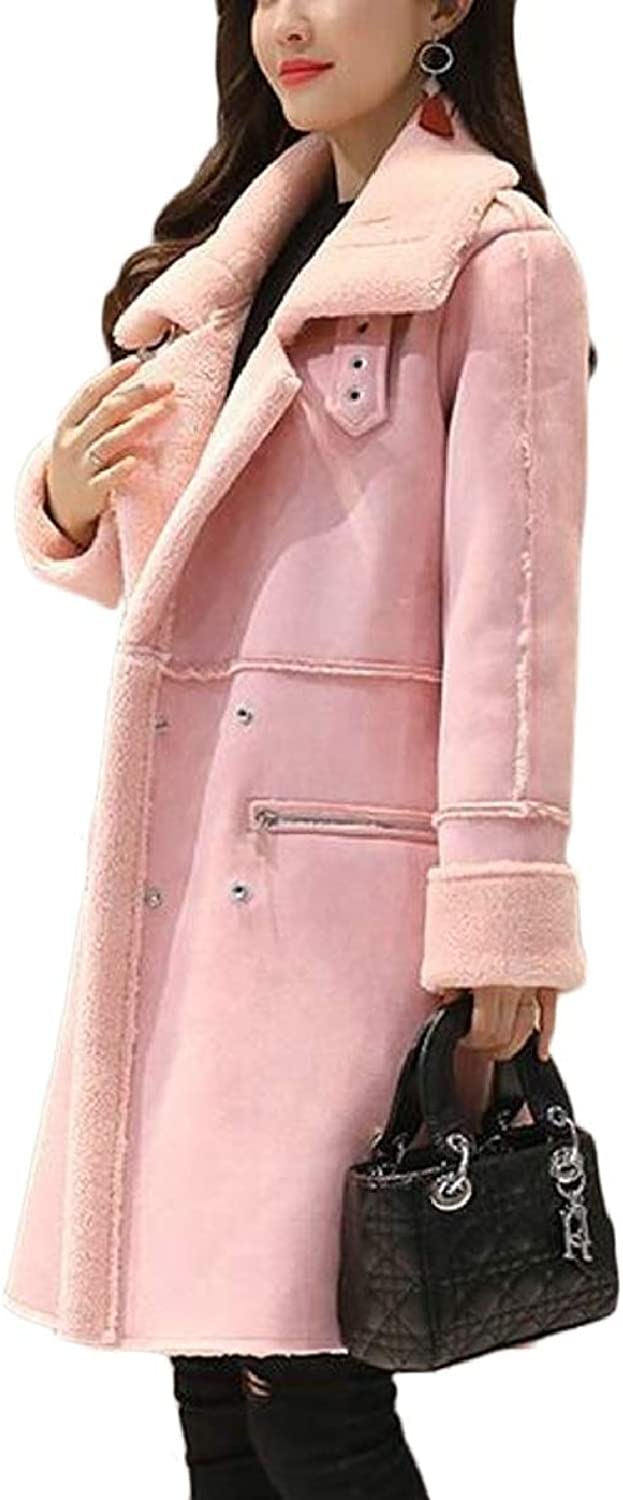 CBTLVSN Womens Winter Lamby Suede Thicken DoubleBreasted Trench Coat Outwear