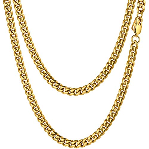 PROSTEEL 18k Gold Chains Stainless Steel Rapper Gold Chain Necklace 20 inch 6MM Neck Chain for Men Boyfriend Xmas Gift