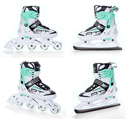 RAVEN 2in1 Schlittschuhe Inline Skates Inliner Profession White/Mint verstellbar (31-35 (20,5cm-22,5cm))