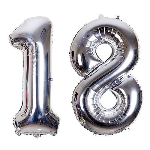 SMARCY Palloncini Gonfiabile Numero 18 Palloncini Compleanno 18 Anni Decorazioni Compleanno Argento
