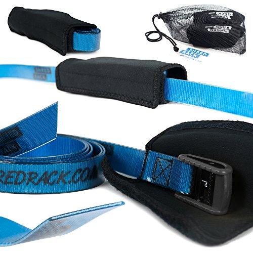 SHRED RACK Spanngurt Premium mit Klemmschloss für Crossfit/Sport - 2 Stück Haltegurte Befestigungsriemen mit Tasche (2m Länge, blau, 200 daN)