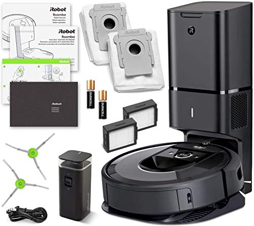 Roomba i7+ (i7 Plus) iRobot Robot Vacuum (7550) Automatic Dirt Disposal, Ideal for Pet Hair, Wi-Fi Connected, Smart Mapping (+1 Extra Edge-Sweeping Brush, 1 Extra Filter Bundle)