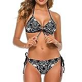 Women Girls Two Piece Adjustable Halter Bikini Set Summer Beach Padded Swimsuit Swimwear Bathing Suits (L) - Sugar Skull Black and White