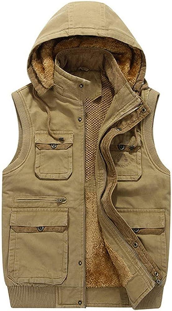 Fur Hood Sleeveless Vest Men Waistcoat Travel Multi Casual