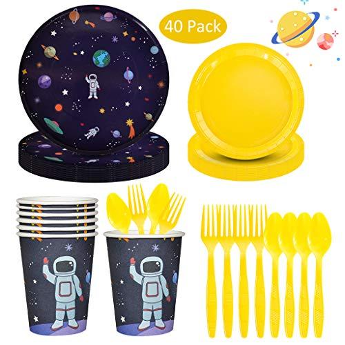 NOL Space Planet Vajilla Fiesta Conjunto de Suministros Mantel Platos Servilletas Pancartas...
