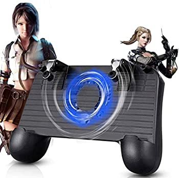 Mobile Game Controller for PUBG 5-in-1 Upgrade Version Gamepad Shoot and Aim Trigger Phone Cooling Pad Power Bank for 4-6.5inch Android Phone & iOS iPhone/Fortnite/Knives Out