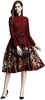 تنورة HangErFeng Dress Ramie مطرزة بياقة شيونغسام على شكل حرف A مع حزام وبندول كبير