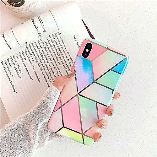 Herbests Kompatibel mit iPhone XS/iPhone X Marmor Hülle Matt Weich Silikon Handyhülle Stein Marble Bling Glitter Sparkle Transparent Schutzhülle Crystal Clear TPU Handytasche,Blau Rosa