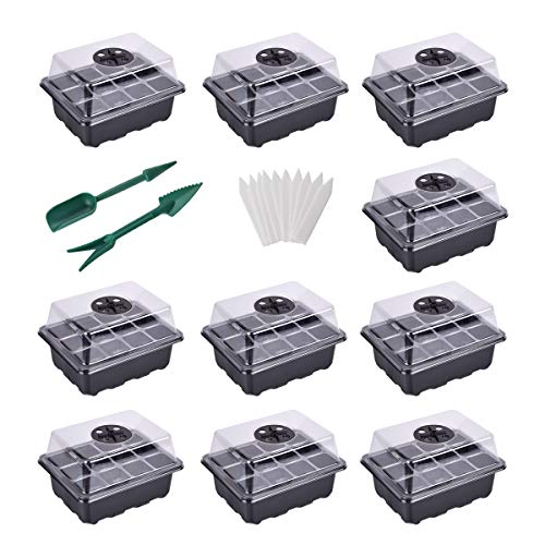 YSBER 10-Pack Seed Starter Tray Kit 120 Cells Humidity Adjustable Plant Starting Kit with Dome and Base Greenhouse Grow Trays Mini Propagator for Seeds Growing (10 Pack, 120 Cells)